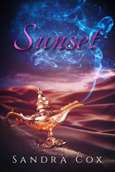 Book cover for Sunset by Sandra Cox shows a genie lamp with smoke spiraling up from the spout