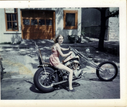 Darlina on Will's Harley 1972