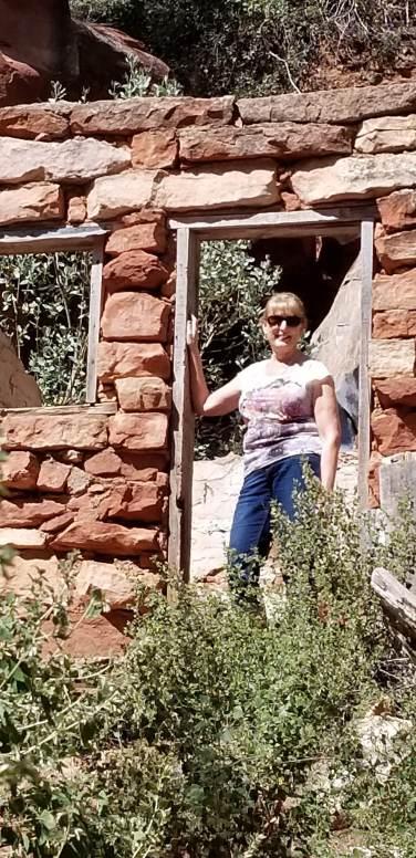 In the doorway of an old ruin
